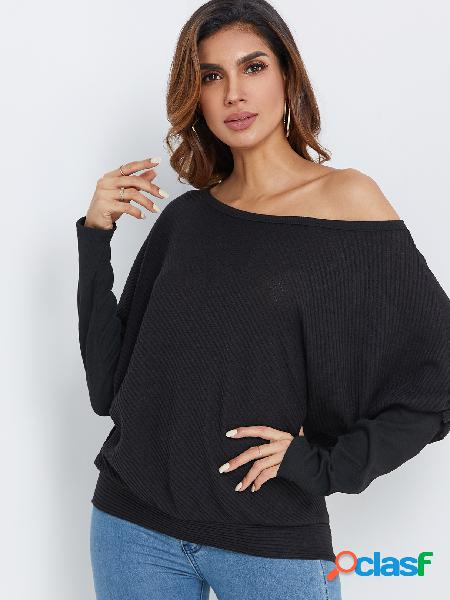 Black plain one shoulder bat long sleeves top