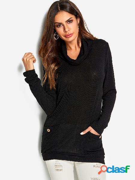 Black button design drape sagging side pockets long sleeves sweatshirts
