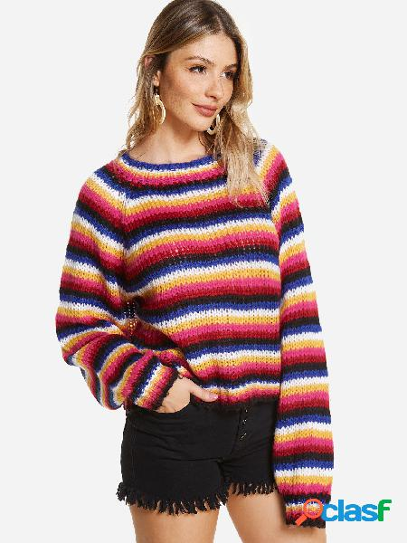 Colorful stripe round neck long loose fit sleeves sweater