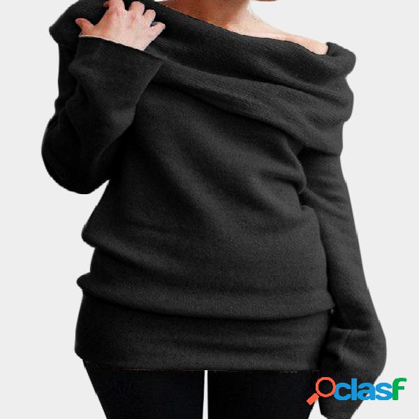 Black one shoulder long sleeves knitted basic top