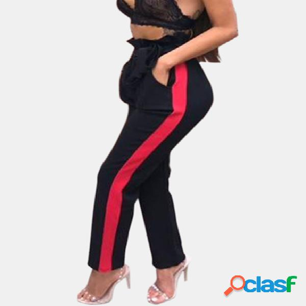 Active contrast color stretch waistband sports pants in black