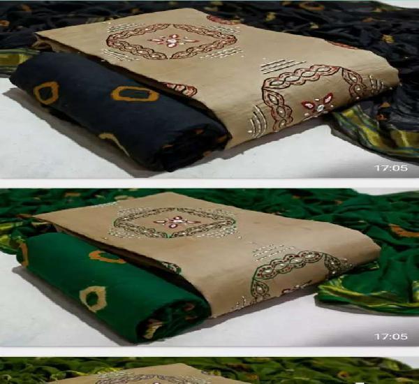 Satin cotton block print