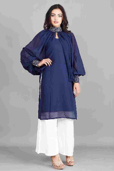 Shop navy blue kurti with neck cape for ladies online