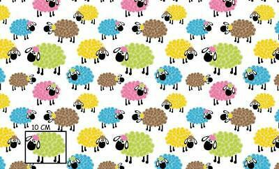 Unit of 5 yard colorful sheep on white cotton fabric by