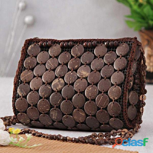 Send Elegant Coconut Shell Maroon Handbag to your wife and newly couple in Ahmedabad