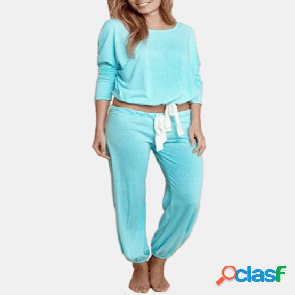 Active round neck drawstring waist tracksuit in light blue