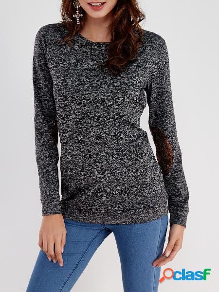 Black sequins embellished round neck long sleeves bodycon hem casual t-shirt
