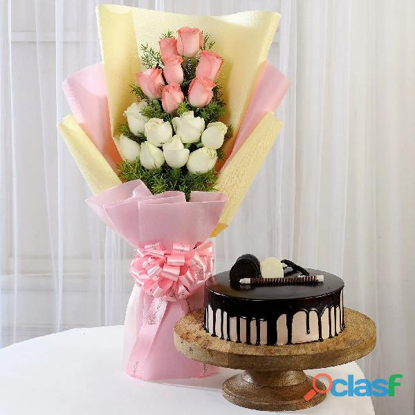 Send Pink & White Roses with Chocolate Cake in Christmas | Ahmadabad