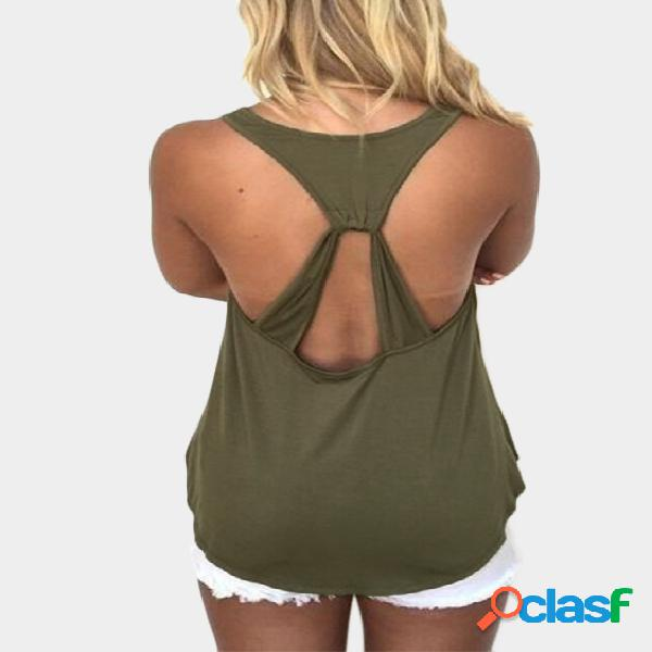 Army green cut out round neck backless tank top