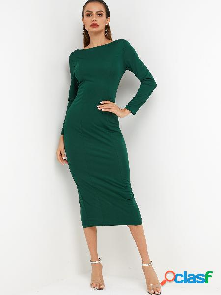 Green Backless Design Single Breasted Design Long Sleeves Party Dress