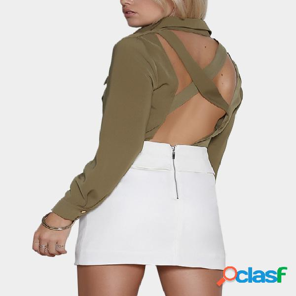 Army green criss-cross backless design long sleeves blouse