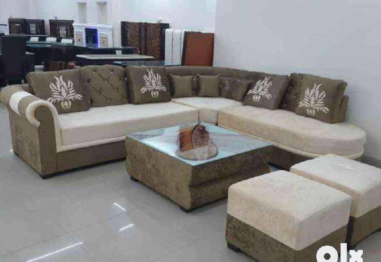 L shape sofa set with center table & puffies