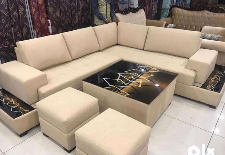 L shape sofa set with table