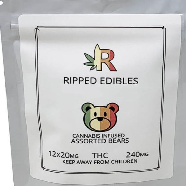 Assorted gummy bears by ripped edibles