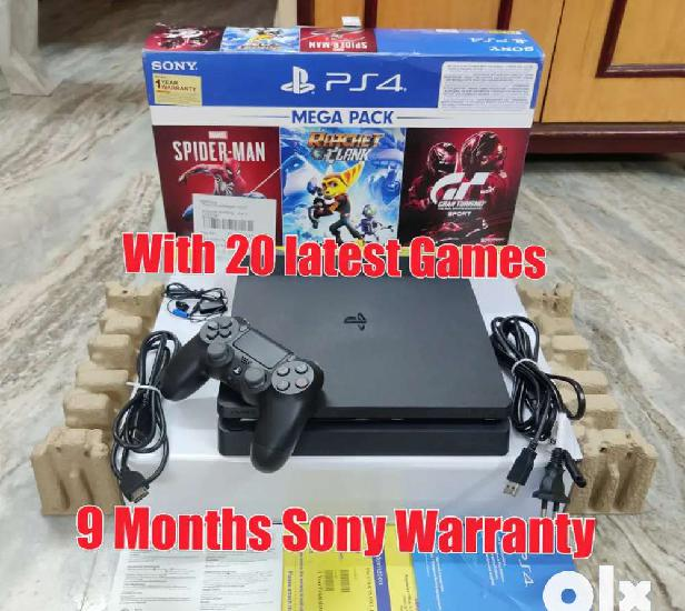 Sony playstation 4 (ps4) with 20 latest games & 9 months