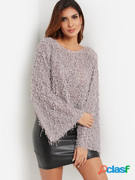Dust Grey Crew Neck Bell Sleeve Paneled Stylish Sherpa Jumper Sweaters