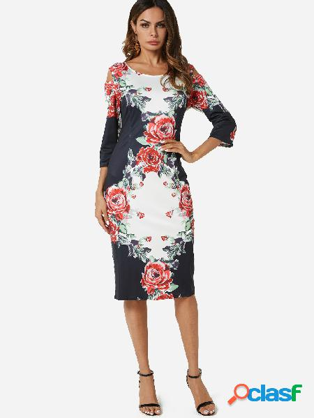 Random Floral Print Cold Shoulder Midi Dress