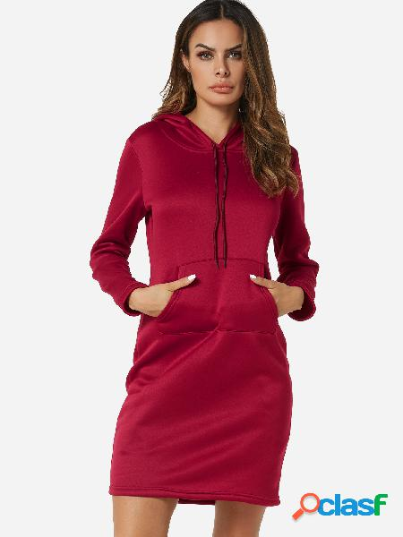 Red Casual Long Sleeve Kangaroo Pocket Hoodie Dress