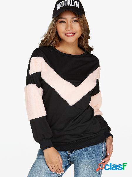 Black color block round neck long sleeves sweatshirt