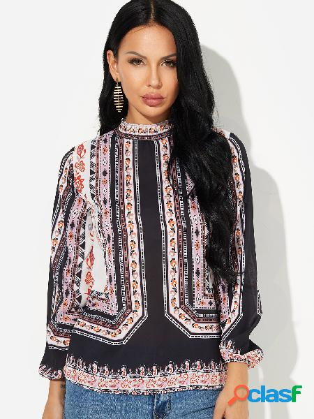 White cut out random floral print pleated perkins collar long sleeves blouse