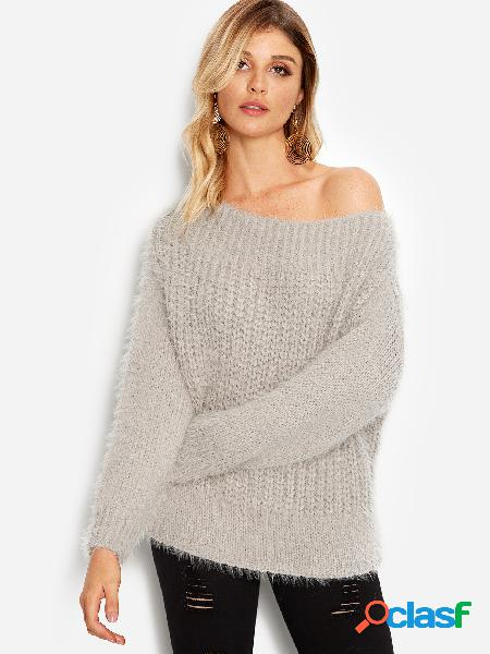 Grey plain one shoulder round neck long sleeves loose fit sweaters