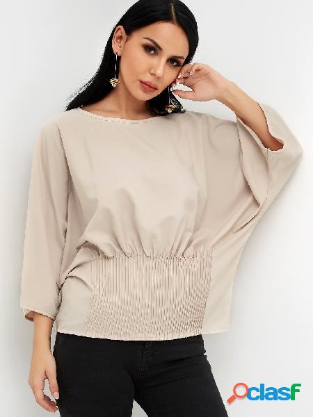 Beige crew neck 3/4 length bat sleeves blouses with pleated stretch waist