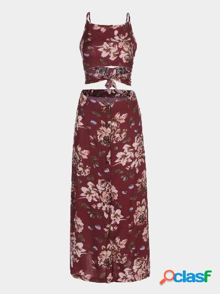 Red vintage floral print tie back crop top and split maxi skirt co-ord