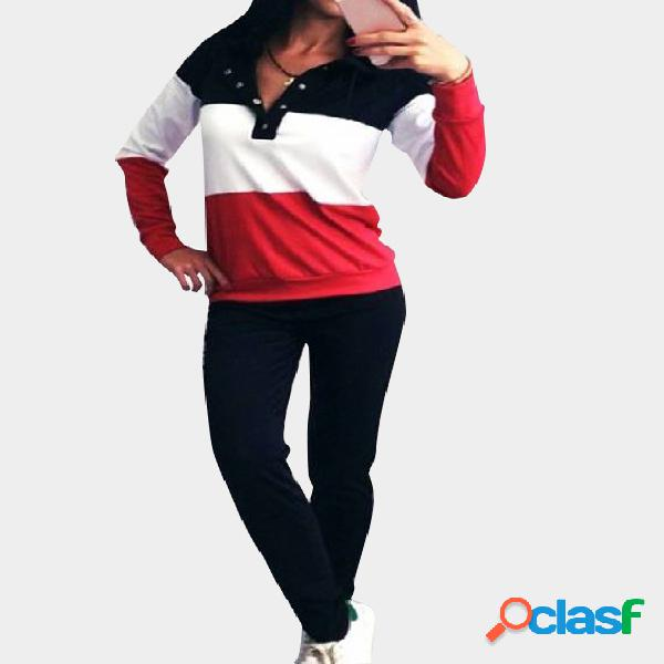 Button Front V-neck Long Sleeves Hooded Tracksuit
