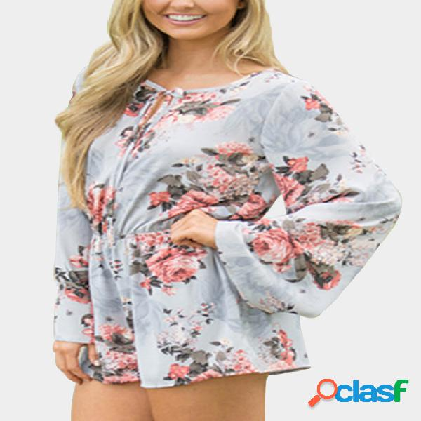 Light blue floral print bell sleeve playsuit