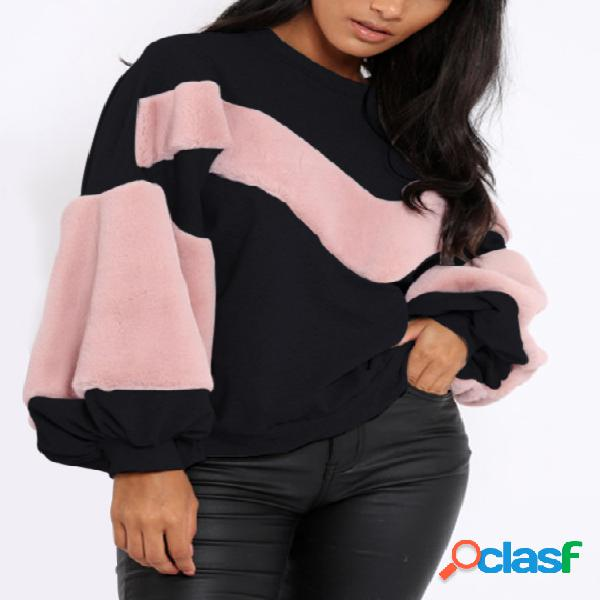 Black fur design round neck long sleeves color block sweatshirt