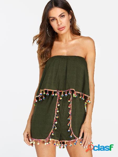 Army green backless design plain off the shoulder sleeveless playsuits