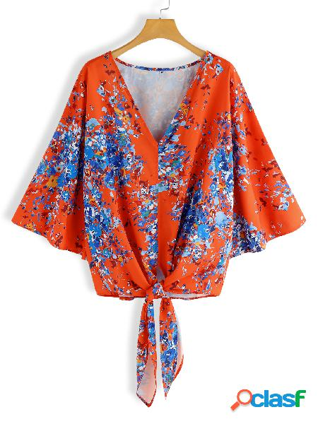 Red self-tie design random floral print deep v neck bell sleeves blouse