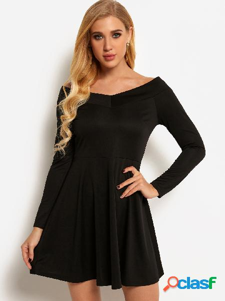 Black plain off the shoulder long sleeves high-waisted mini party dress