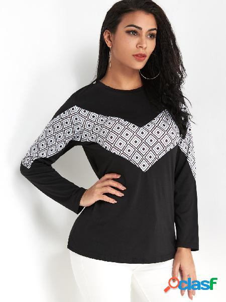 Black color block round neck long sleeves t-shrit
