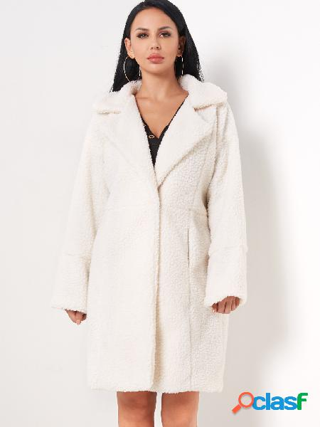 White button design lapel collar long sleeves woolen coat with slip poackets