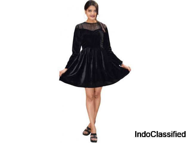 Buy fit and flare black dress at flipkart