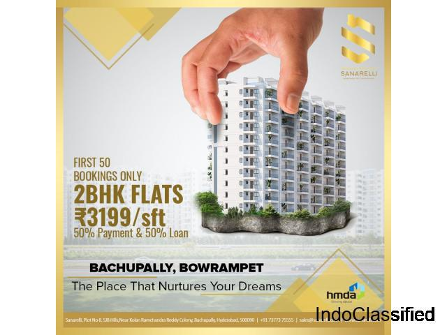 High rise gated community apartments for sale in bowrampet