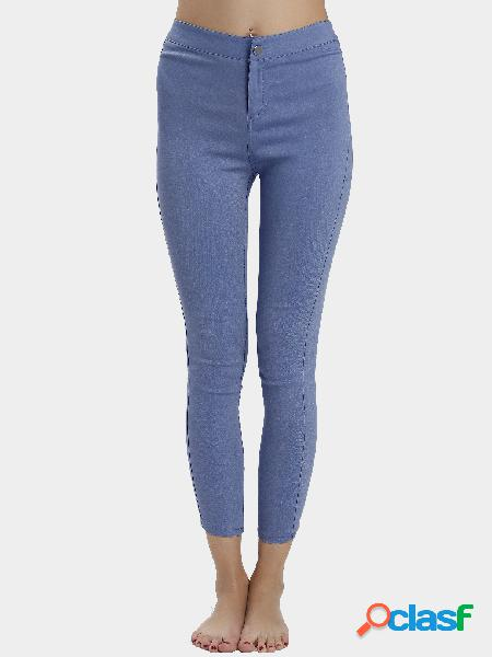 Blue high waist causal pants