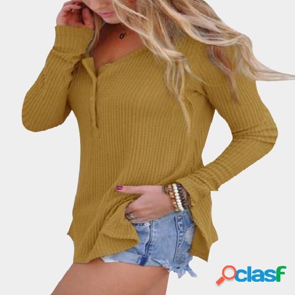 Yellow side slit round neck long sleeves knitwear