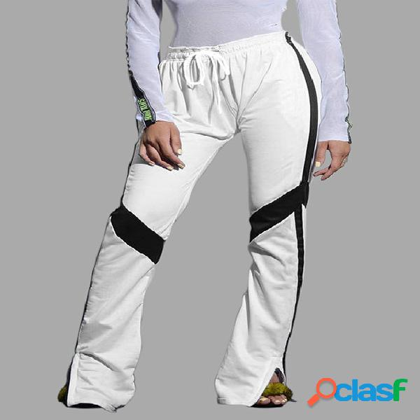 Active side slit drawstring waist pants in white