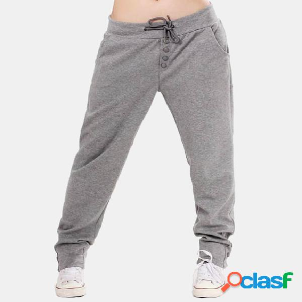 Active front design drawstring elastic waist pants in grey