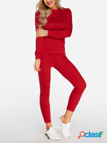 Burgundy crew neck drawstring waist long sleeves tracksuit