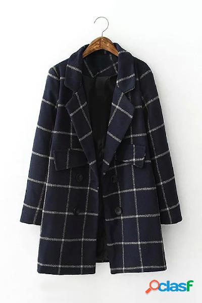 Navy grid lapel collar long sleeves trench coat with doubel breasted