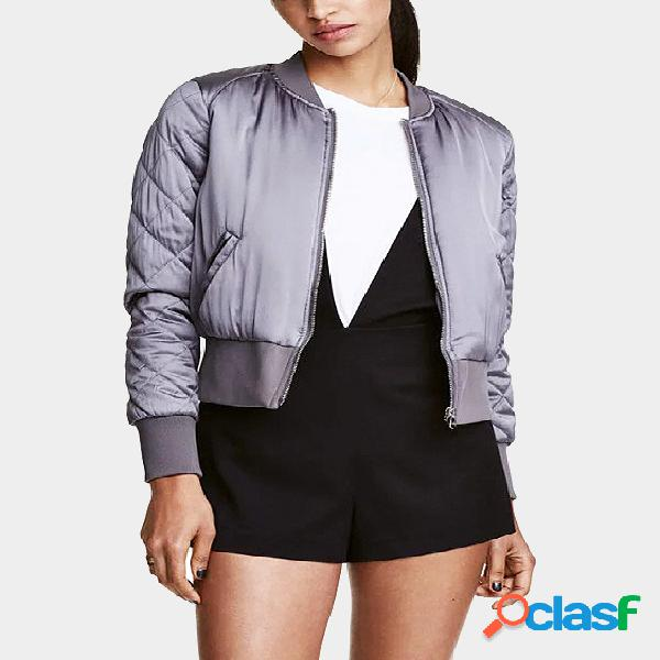 Grey fashion quilted diamond sleeves zipper jacket