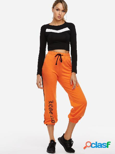 Active letter pattern drawstring waist sports pants in orange