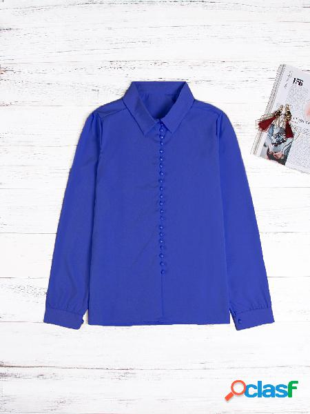 Blue lapel collar long sleeves blouse