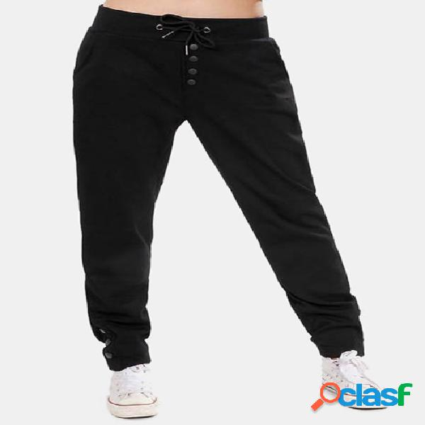 Active front design drawstring elastic waist pants in black