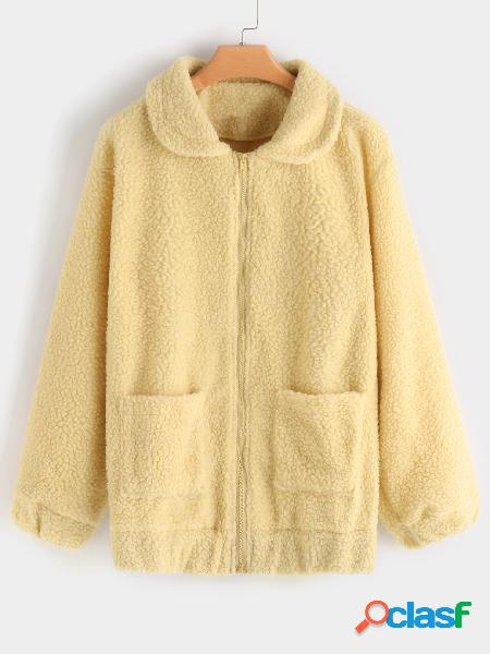 Camel zip front closure lapel collar long sleeves coat with patch pockets