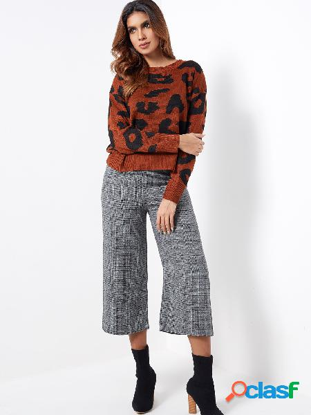 Grey plaid mid waist wide leg pants with belt