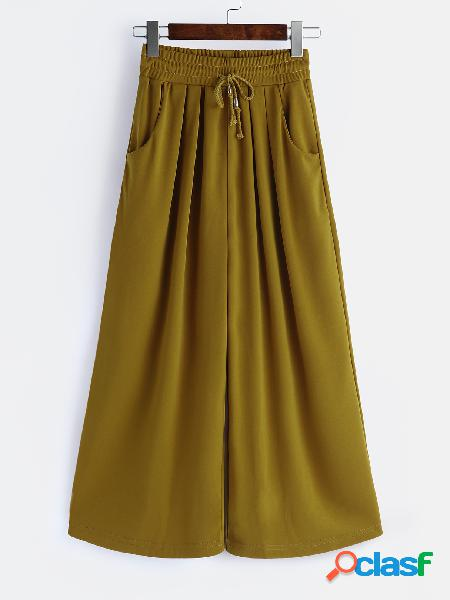 Brown wide leg drawstring waist pants